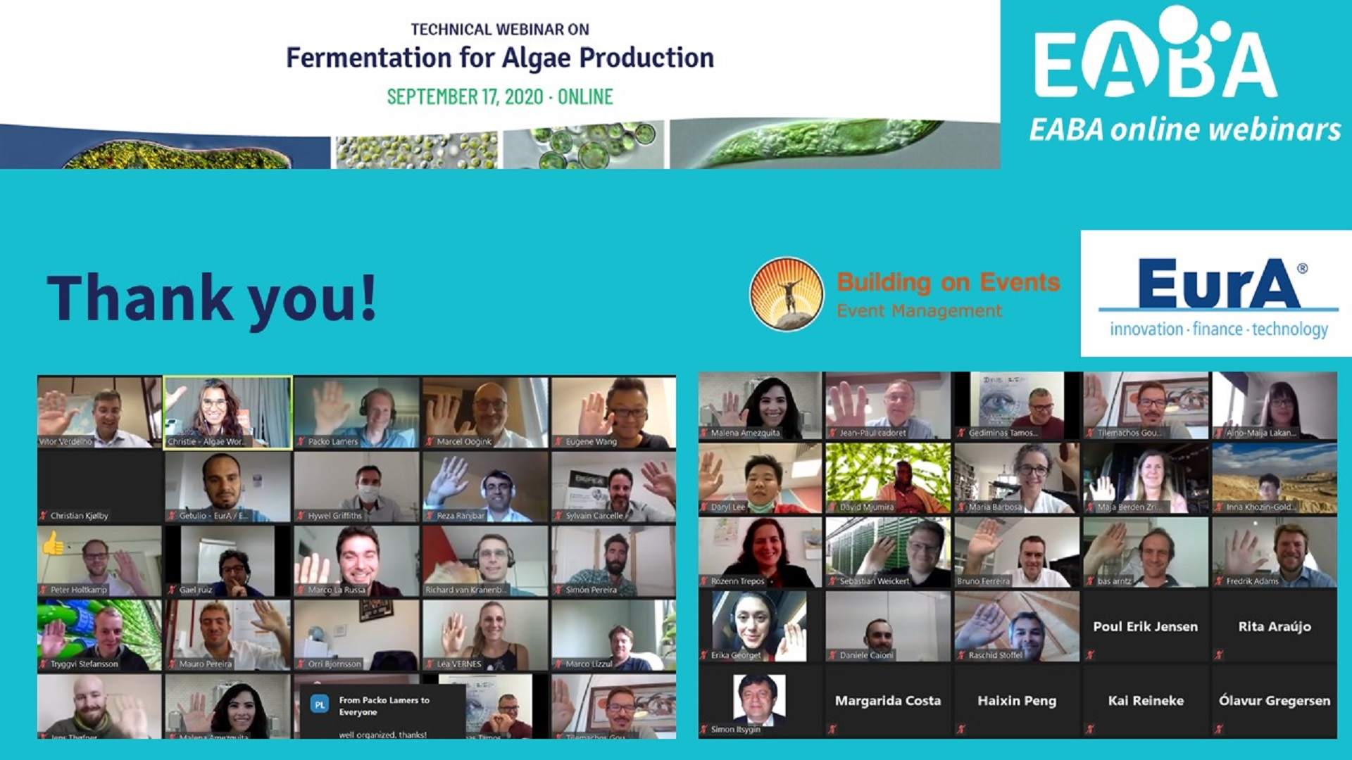 "Margarida Costa da Allmicroalgae esteve presente no EABA Webinar ""Fermentation for Algae Production"""
